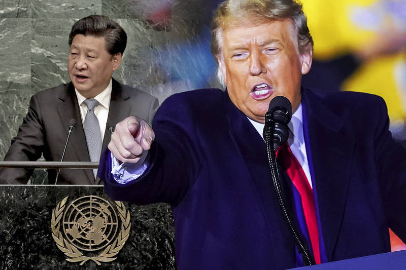 川普透露明聯合國大會發言:「我會中針對中國發表了嚴厲訊息,你們明天就會知道了。」(美聯社、歐新社,本報合成)