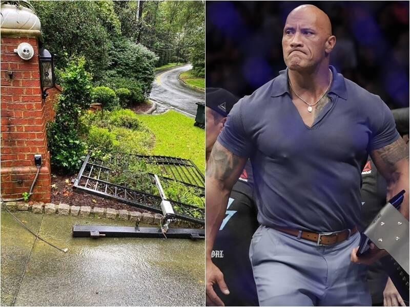 美國好萊塢男星巨石強森自稱拆了鐵門。(本報合成,IG「therock」、美聯社)