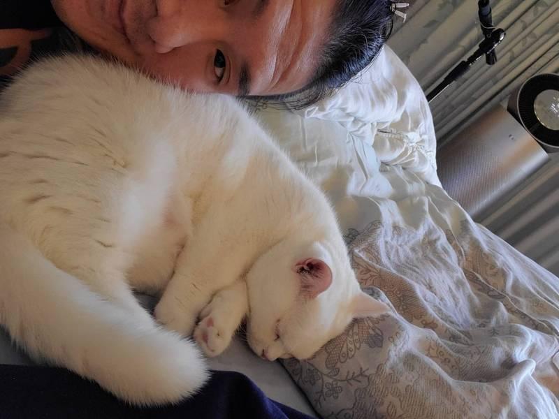 日前他出院回家後,也立刻PO出與愛貓「胖胖」的合照,發文表示:「我以為我看不到你了胖胖」。(取自飆捍臉書)