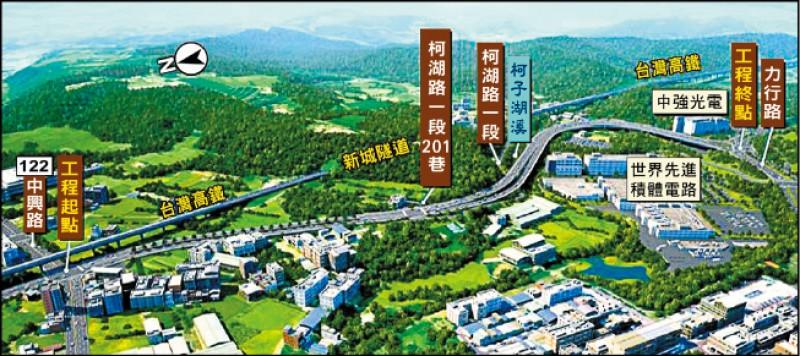新竹縣高鐵橋下聯絡道延伸至竹科新闢工程第3期的中興路至力行路段,預計10月底開工、2022年底完工。(新竹縣政府提供)