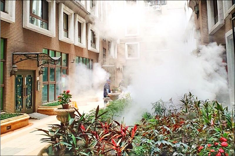 新北衛生局在高風險場域進行環境噴消,以及進行孳生源清除工作。 (新北市衛生局提供)