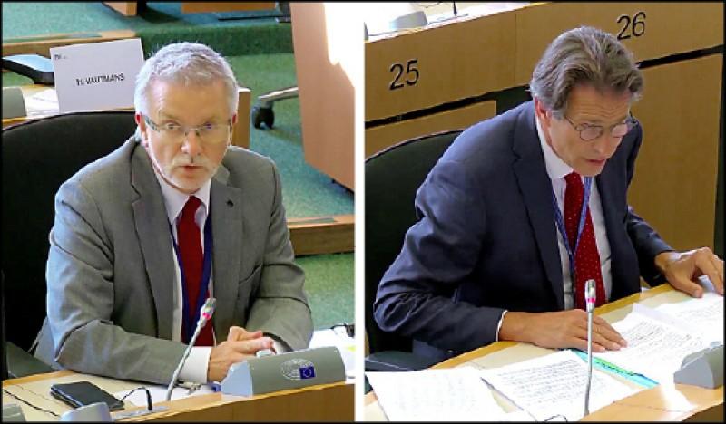 歐盟對外事務部(EEAS)亞太總司長維綱(右)在歐洲議會外交委員會發言表示歐台關係好極了。歐洲議會友台小組主席蓋勒(左)則直指中共軍機近日進入台灣領空是不恰當的行動。(翻攝自歐洲議會影片)