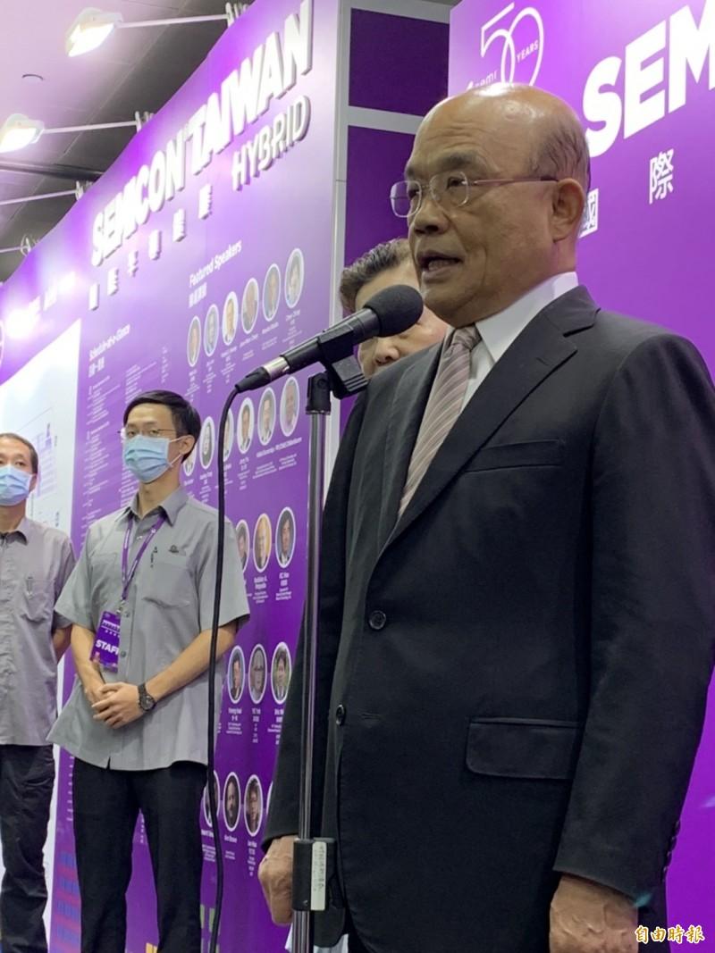 共機頻繁擾台,行政院長蘇貞昌今(23)日呼籲中國不要破壞區域和平。(記者洪友芳攝)