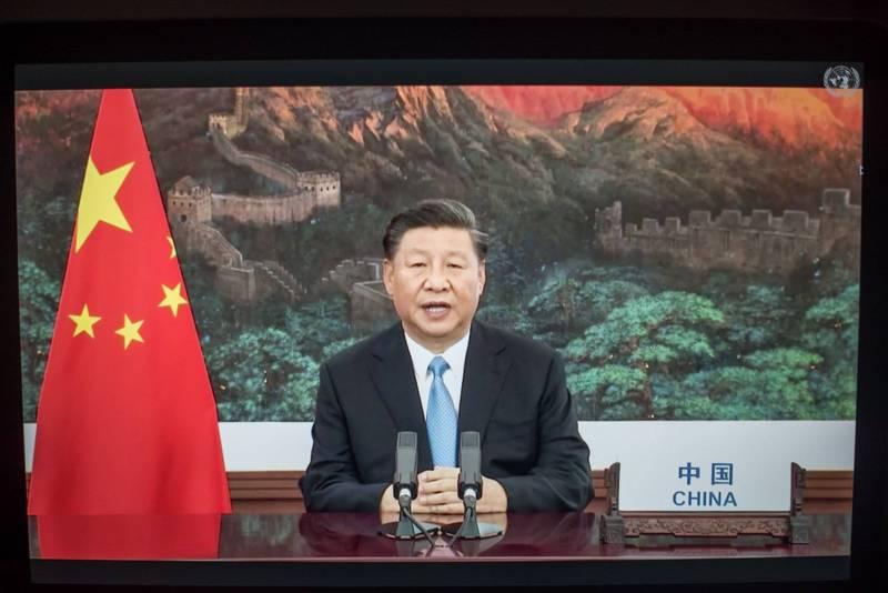 中共領導人習近平在聯合國大會發表談話,承諾不擴張,無意冷熱戰。(彭博)