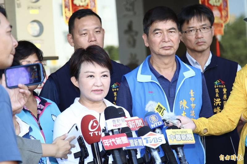 台中市長盧秀燕談及政風處長風波,強調先斬後咒、下不為例。(記者張軒哲攝)