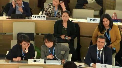 中國對待新疆維吾爾族人的種種政策被質疑有違人權,近年來備受爭議。近日一段影片在網路造成熱議,影中中國女代表在聯合國人權理事會上,試圖要求主席阻止「聯合國觀察組織」執行長發言談論新疆集中營,不過要求馬上遭主席駁回,沒想到女代表卻開始拍桌抗議,而主席則乾脆不予理會。(擷取自HillelNeuer推特)