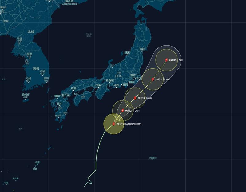 白海豚颱風預計將不會登陸日本。(擷取自台灣颱風論壇|天氣特急粉專)
