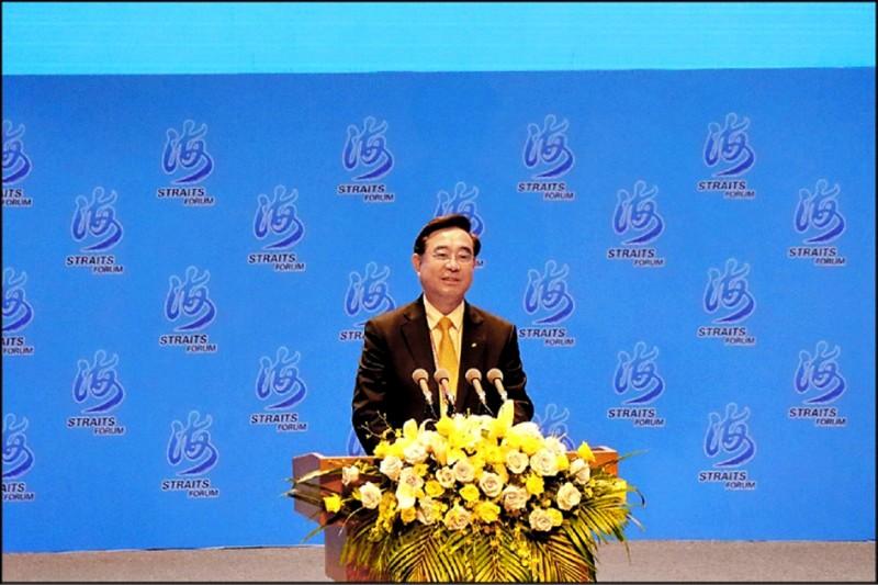 新黨主席吳成典在第12屆海峽論壇大會開幕式上致詞,他說,只有統一才會真正給兩岸同胞帶來雙贏,「讓一國兩制台灣方案的內容協商能夠實現」。(中央社)