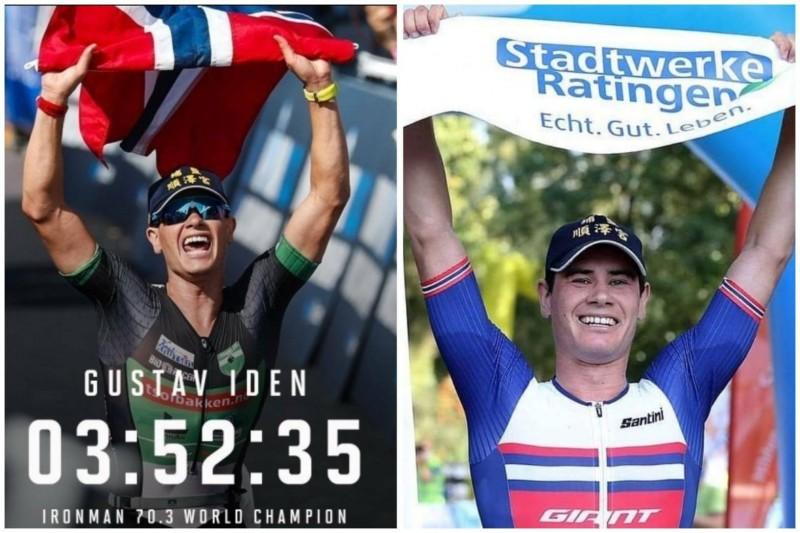 挪威三鐵選手伊登(Gustav Iden)多次戴著印有「埔鹽順澤宮」字樣的宮廟帽參加三鐵競賽奪冠。(圖為合成,翻攝伊登IG)