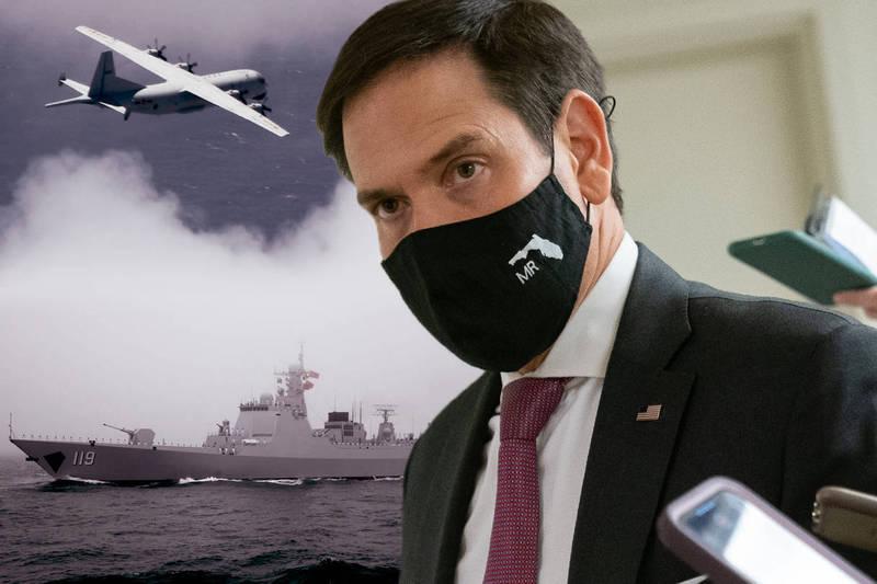 美國共和黨籍參議員盧比歐(Marco Rubio)23日說,如果必要中國遲早會對台灣動武。(本報合成)