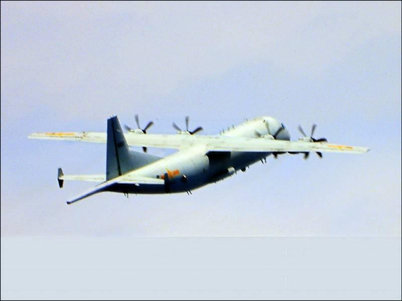 中國解放軍運八反潛機進入我防空識別區西南角。(資料照,國防部提供)