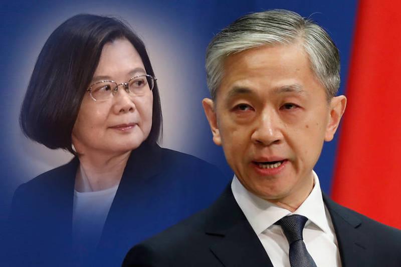 中國外交部發言人汪文斌(右)不滿台灣總統可能出席APEC,在記者會怒氣沖沖砲轟。左為總統蔡英文。(左資料照,右歐新社檔案照,本報合成)