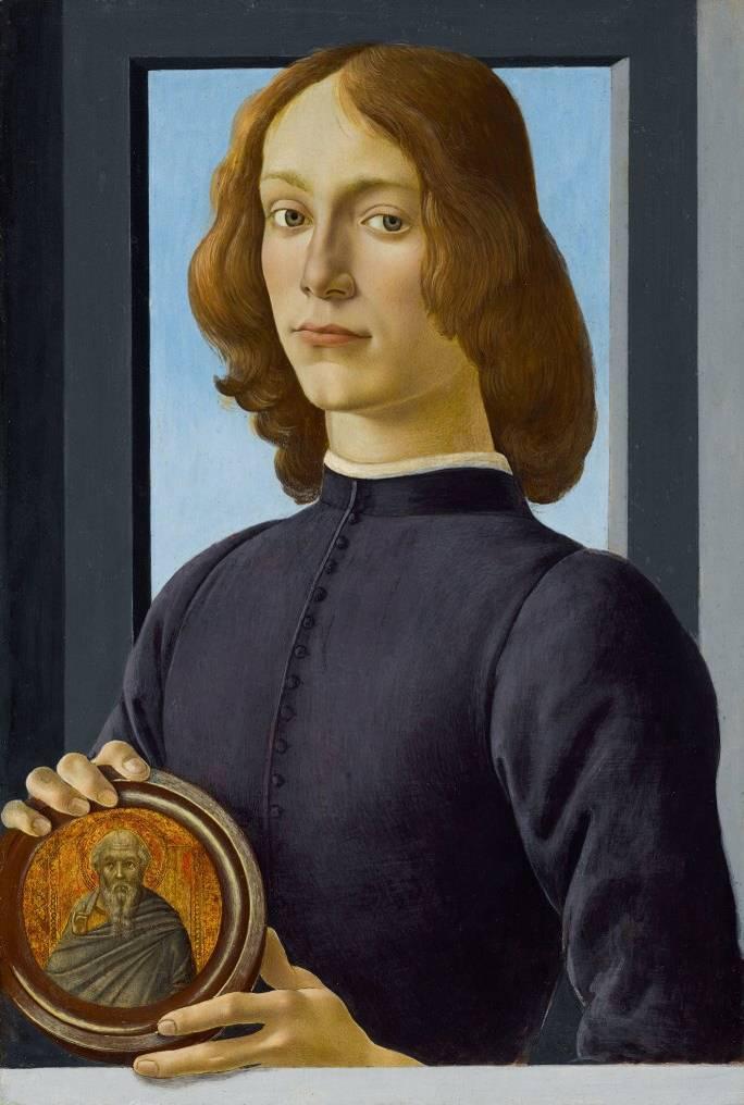 收藏家1982年以81萬英鎊(約等同現在的100萬美元、新台幣2928萬元)買下的波提且利(Sandro Botticelli)畫作《持圓盤的年輕男子》,預估拍賣價格將突破8000萬美元(約新台幣23.4億元)。(圖擷自蘇富比)