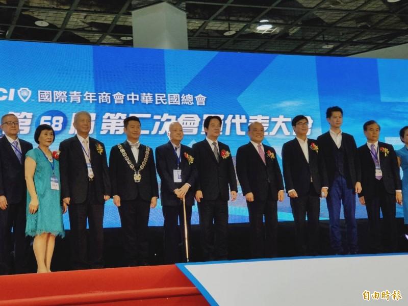 賴清德與蘇貞昌聯袂出席第68屆國際青商會全國年會開幕典禮。(記者葛祐豪攝)
