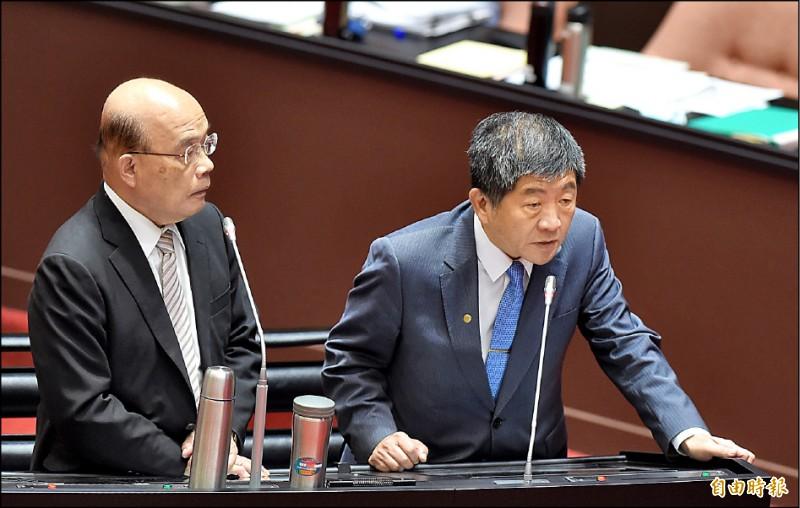行政院長蘇貞昌(左)、衛福部長陳時中(右)25日赴立院備詢,陳時中表示,台灣在COVAX平台確定不會選擇中國疫苗。(記者劉信德攝)