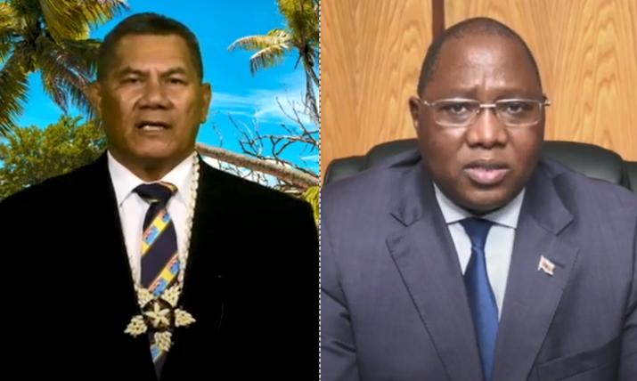 我國友邦吐瓦魯總理拿塔諾(左)、史瓦帝尼總理戴安伯(右),25日在聯大總辯論相繼發聲挺台。(圖擷取自聯合國YouTube頻道網頁,本報合成)