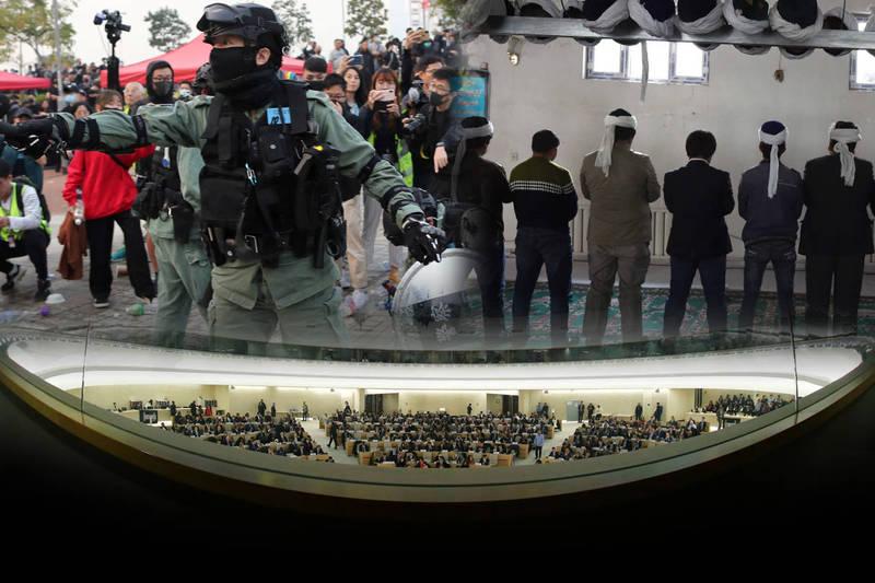 歐盟、英國、澳洲和加拿大代表在聯合國人權理事會上齊聲譴責中國,紛紛表達對香港和新疆議題的關注。(本報合成)