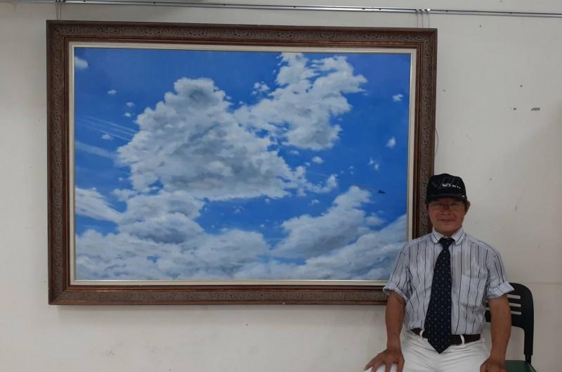 陳立德的「The Dying J-20」畫作中有2架殲20被台灣飛彈擊中消失在雲中。(陳立德提供)