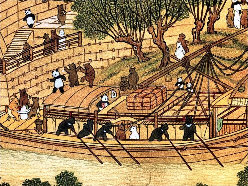 《熊熊上河圖》裡台灣黑熊當苦力划船。(台北市議員陳怡君提供)