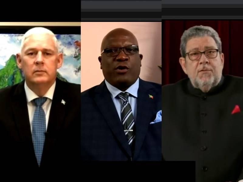 加勒比海友邦(左起)聖露西亞、聖克里斯多福、聖文森26日在聯大總辯論替台灣抱不平,強調台灣不該在聯合國體系缺席。(圖取自聯合國YouTube頻道網頁)