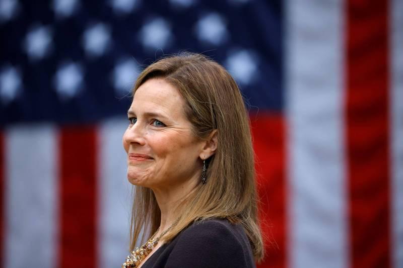 美國總統川普提名保守派的聯邦法官巴瑞特(見圖)擔任最高法院大法官,若提名被通過,保守派大法官在最高法院擁有的席位將擴大至6比3。(路透)
