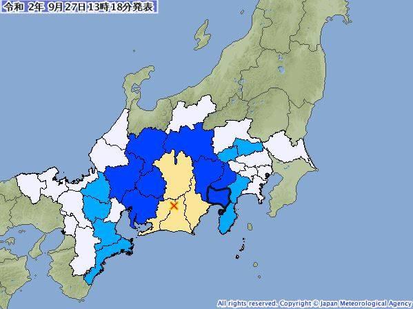靜岡縣今發生規模5.3地震。(圖擷取自日本氣象廳)