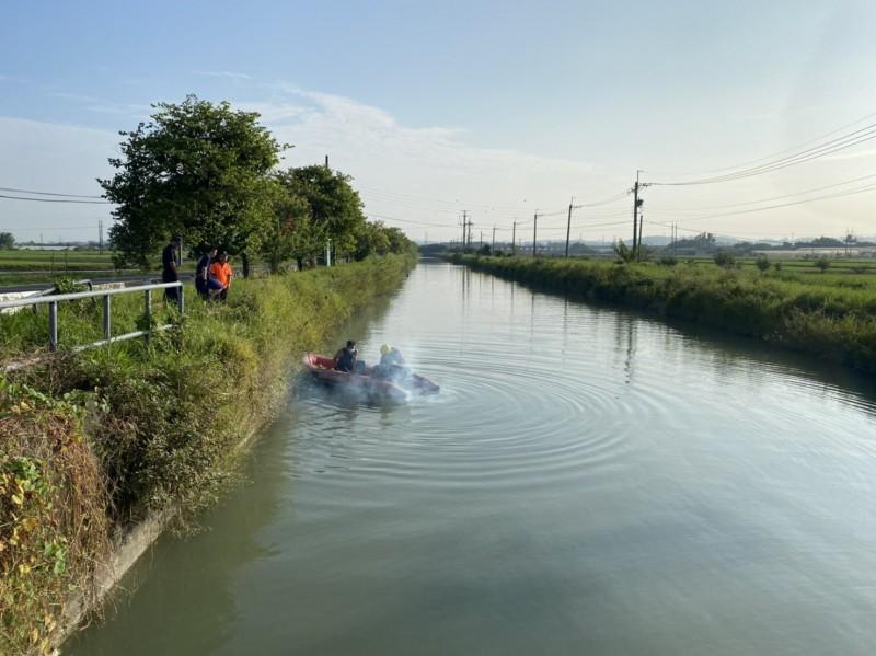 官田區八田路嘉南大圳,2名70多歲男子疑晨泳溺斃。(記者王涵平翻攝)