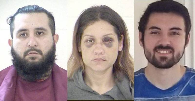 30歲丈夫阿曼多(Armando Barron)(左),發現妻子布蘭妮(Britany Barron)(中)外遇25歲「小王」強納森(Jonathan Amerault)(右),怒而殺害強納森,並殘忍分屍。(圖翻攝自Twitter)