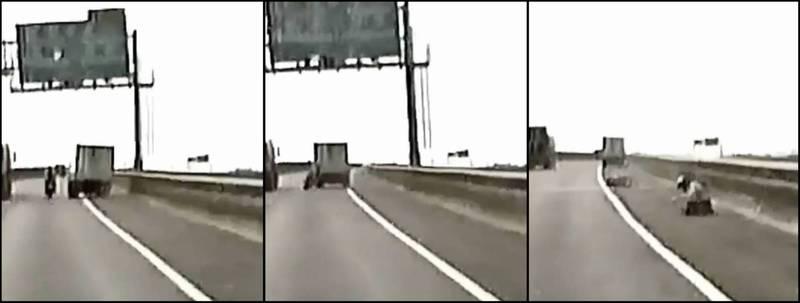 有名重機騎士26日騎車行經台88線快速道路時,竟遭水產行小貨車從路肩飆速超車撞上,騎士當下立刻倒地翻滾3圈,水產行卻在臉書留言時稱「是重機不讓路,不是我們逼他車」,引發網友眾怒。(圖擷自臉書,本報合成)