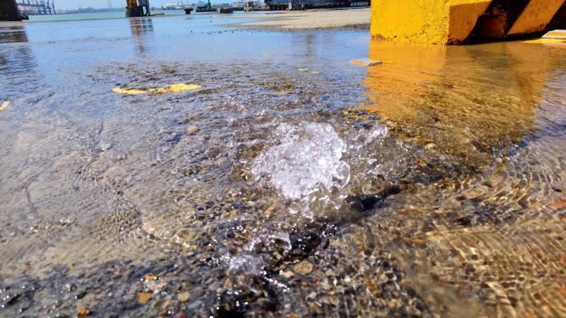 台中港工作船渠碼頭旁空地,自來水管破裂。(記者張軒哲翻攝)