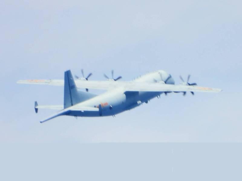 中國解放軍運八反潛機23日進入我防空識別區西南角。(國防部提供)