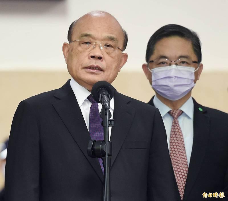 行政院長蘇貞昌在立法院院會之前接受媒體訪問。(記者朱沛雄攝)