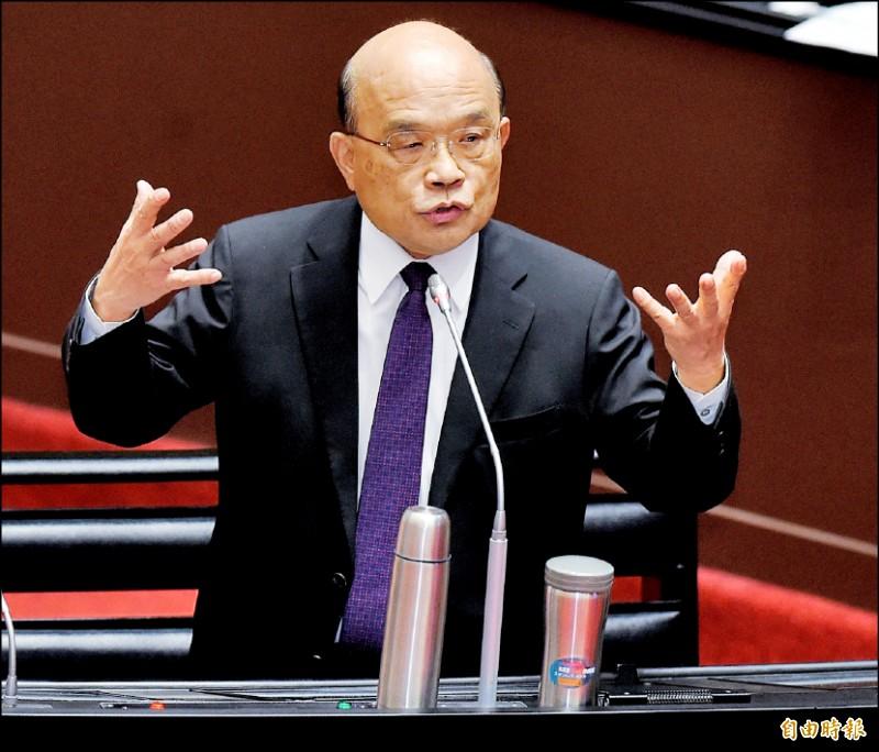行政院長蘇貞昌29日在立法院院會答覆立委質詢。(記者朱沛雄攝)