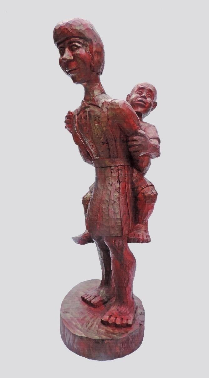 參獎「他是我弟弟」由排灣族的阿旦‧達魯札隆創作。(屏東縣政府原住民處提供)
