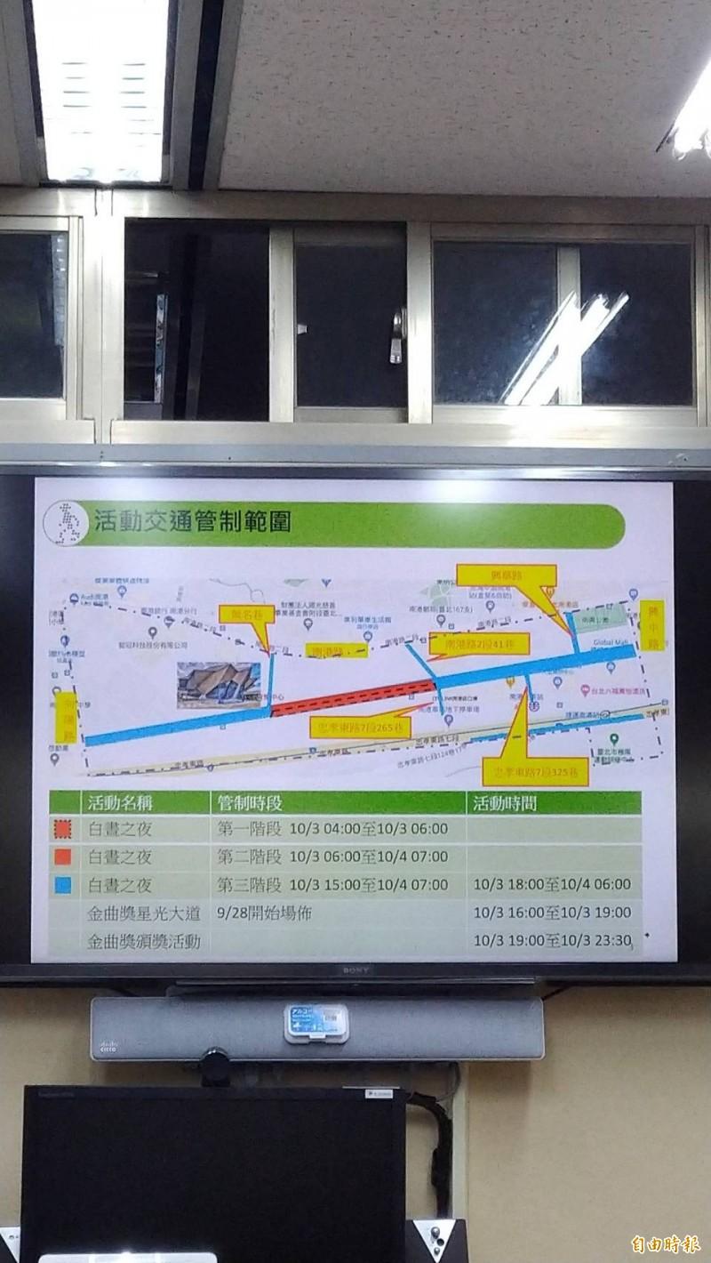 台北市交通局說明因應2020白晝之夜、金曲獎的交通管制。(記者蔡亞樺攝)