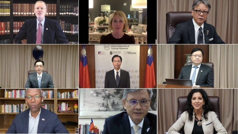 台灣、美國及日本於美東時間29日首度在聯合國大會期間共同舉辦「透過公私夥伴關係促進國際發展」視訊工作坊,分享透過公私協作達成聯合國「永續發展目標」(SDGs)的經驗與成果,逾20國、百位官員及學者專家共同參與。(外交部提供)