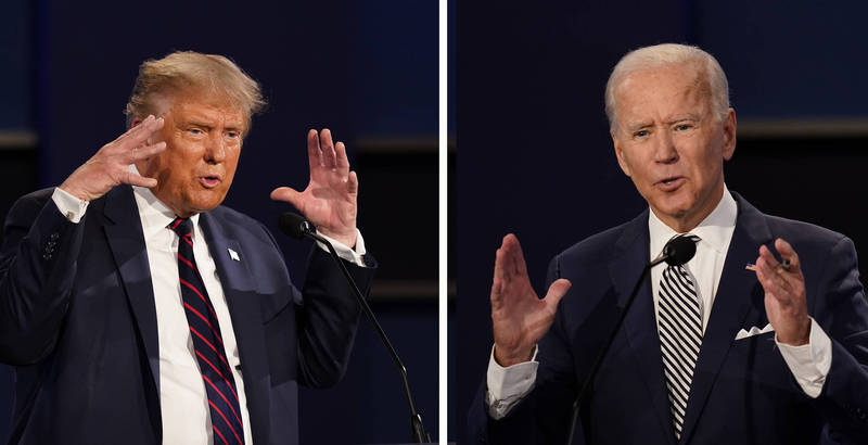民主黨參選人拜登(右)於辯論會後,在推特發布一則影片,諷刺川普頻頻插話的舉動如同小孩子一般無理取鬧。(美聯社)