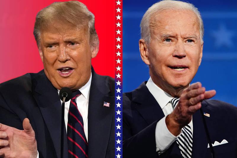 川普(左)與拜登(右)今日首度進行總統大選辯論。(本報合成)