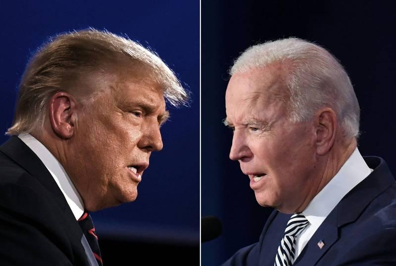 2020年美國總統競選辯論會在台灣時間今天上午9時舉行,現任總統川普與民主黨候選人拜登展開激烈交鋒。(法新社)