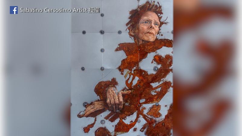 畫家Sabatino將人像畫與鐵鏽完美結合。(圖片由Facebook粉絲專頁Sabatino Cersosimo Artist授權提供使用)