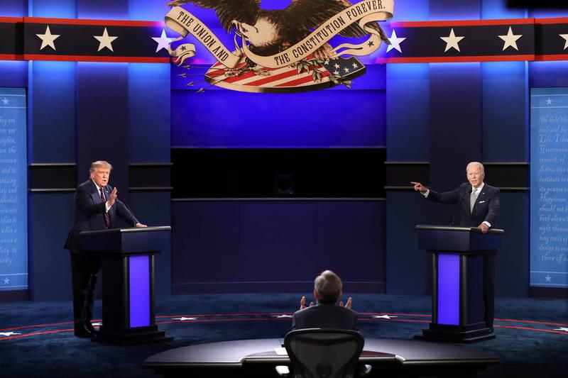 首場2020美國總統辯論戰況混亂。(歐新社)