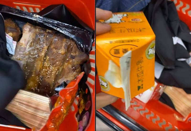 網友PO說,在他工作的賣場竟然有人擅自打開貨架上的食物及飲料偷吃,甚至誇張地還拿賣場衣服掩蓋在食物殘渣上,「水準低到新境界!」(圖片擷取自爆廢公社)