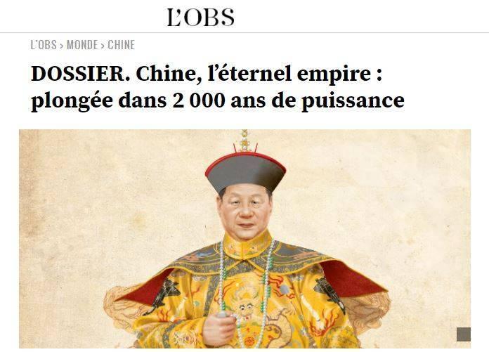 在中國十一國慶日前,法國媒體「新觀察家」(L'Obs)」推出特刊探討中國「王朝」制度,並稱制度「到現在都還沒結束」。封面還畫上中國領導人習近平穿龍袍的畫面加以諷刺。(擷取自L'Obs)
