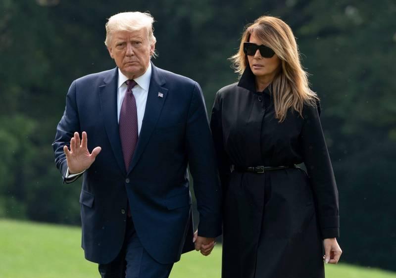 美國總統川普與第一夫人梅蘭妮亞確診武漢肺炎(新型冠狀病毒病,COVID-19)。(法新社)