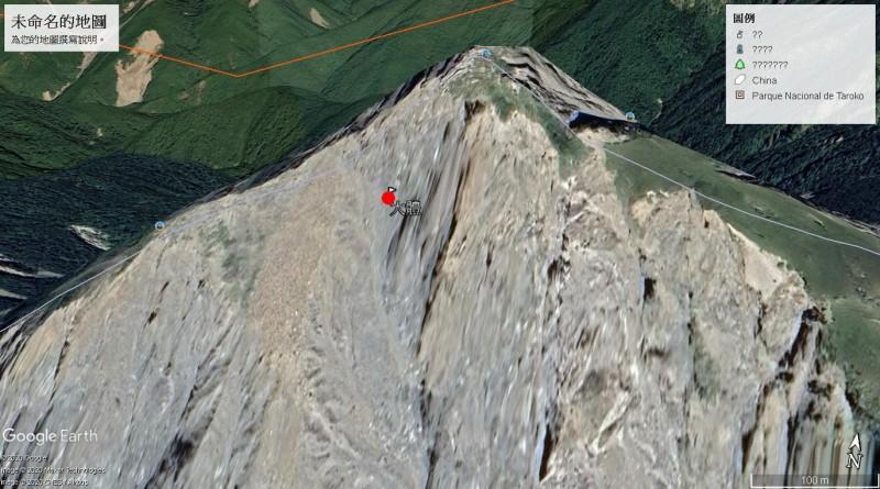 王姓男子遺體被發現的地點(24.308490, 121.415356),位於中央尖山南壁,疑似是過中央尖山往西峰經死亡稜線回主稜時,不慎滑落南側崩壁。(擷取Google地球)