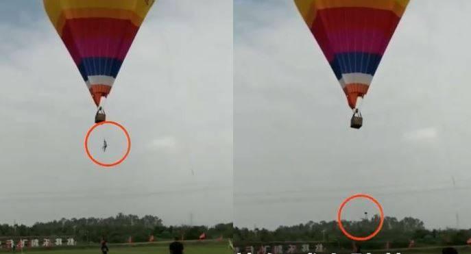 中國湖南省株洲市2日發生一起驚悚意外事件,一名在熱氣球營地打工的男大生從熱氣球上墜落到地面,送醫搶救後仍宣告不治。(圖擷取自微博)