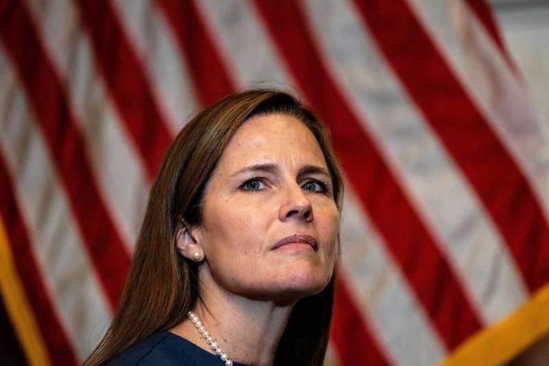 美國總統川普提名的大法官人選巴瑞特(Amy Coney Barrett),被爆料曾在夏季確診武漢肺炎,目前已經痊癒。(路透)