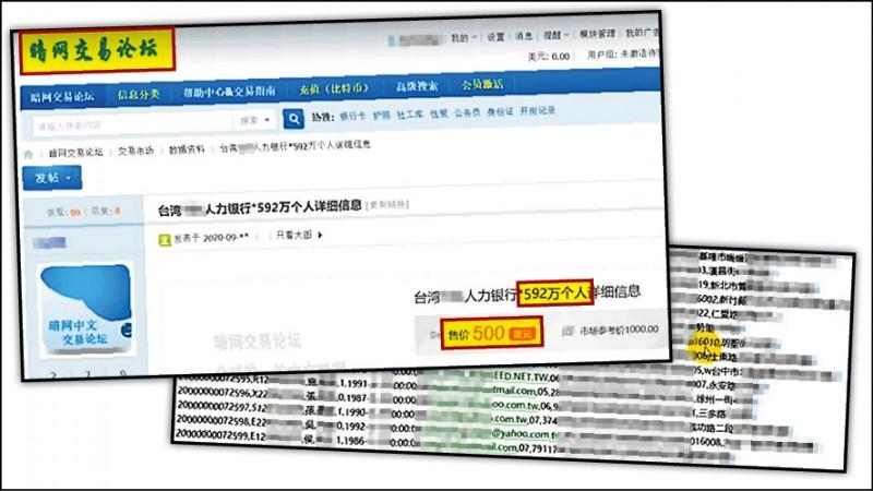 「黑暗網站」的中國「暗網交易論壇」交易市場內,有駭客出售台灣一家人力銀行高達592萬筆的個資。(社會中心記者翻攝)
