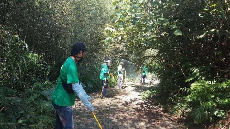 新北衛生局在五寮社區進行環境孳生源清除區塊防治預防性噴消。(新北衛生局提供)