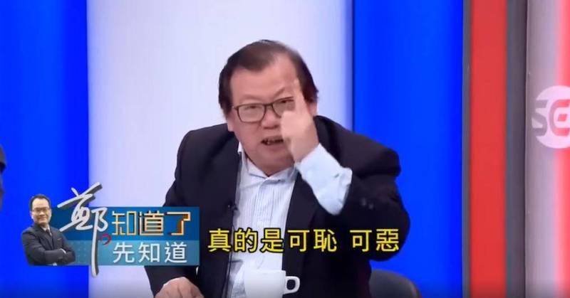 黃澎孝在政論節目中痛罵陳廷寵「可恥!可惡!」(圖取自三立新聞台)